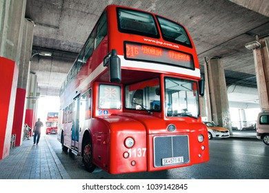 SKOPJE, MACEDONIA - JULY 29, 2016: Double decker bus specially designed for Skopje public transportation.
