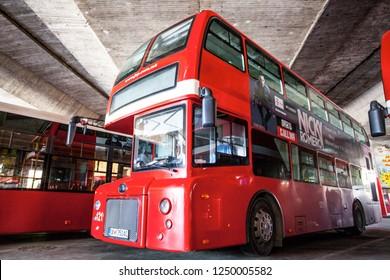 SKOPJE, MACEDONIA - JULY 29, 2016: Double decker bus specially designed for Skopje public transportation.