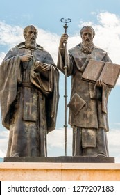 Skopje, Macedonia - June 10, 2013: Monument of Saints Cyril and Methodius in Macedonia, Skopje. They were two brothers who were Byzantine Christian theologians and Christian missionaries