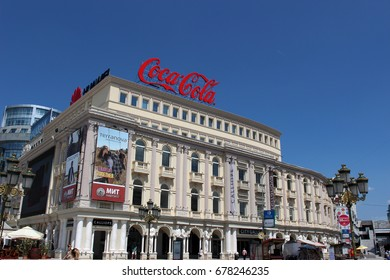 Skopje, Macedonia June 28, 2017: Skopje City Center, Republic of Macedonia