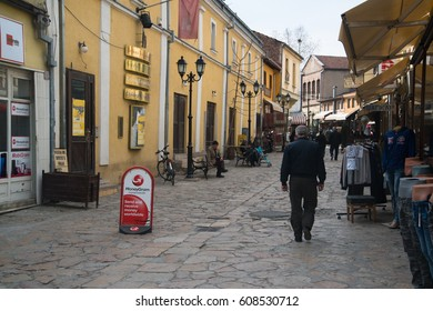 Skopje, Macedonia, March 20, 2017: Alley in the Old Bazaar in Skopje There are a lot coffee bars,restaurants and antique shops for the tourists and the local people who are visiting them everyday