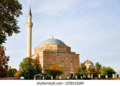SKOPJE, MACEDONIA - November , 2018: Mosque in old town of city of Skopje, Republic of Macedonia