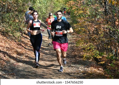 """Skopje, Macedonia - October, 23, 2019 Fifth cross country race on the occasion of the Macedonian Fight Day on the terrain in the forest park """"Gazi Baba"""""""