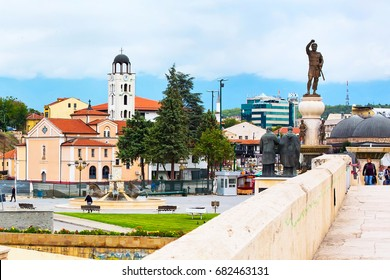 Skopje, Macedonia - September, 30, 2015:  Church, statues and street view in downtown of Skopje, Macedonia