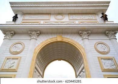 Skopje, Macedonia: Triumphal gate of Macedonia on the main street of Skopje, the Macedonian capital.