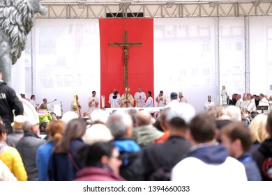 SKOPJE, MACEDONIA-MAY 07, 2019: Pope Francis celebrate Mass in Macedonia Square, in Skopje the capital city of North Macedonia.