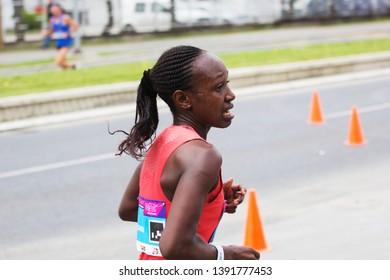 SKOPJE - MAY, 04: Eunice Nyawira MUCHIRI winner of the race in the Skopje Marathon on May 04, 2019 in Skopje, Macedonia.