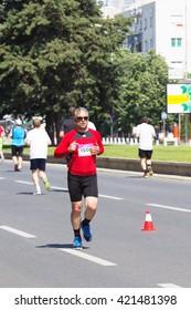SKOPJE - MAY, 08: Unidentified Runners on the Street During Skopje Marathon on May 08, 2016 in Skopje, Macedonia