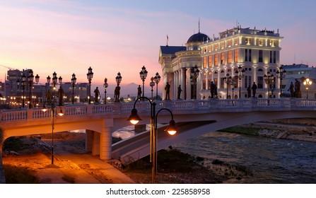 "Skopje night scene at dawn - Macedonian museum of Archeology and bridge called ""Eye"""