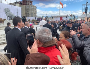 Skopje, North Macedonia - 05/07/2019:SKOPJE, North Macedonia — Pope Francis paid a 10-hour visit to North Macedonia on Tuesday and prayed at the memorial of the country's most famous native daughter