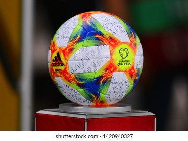 SKOPJE, NORTH MACEDONIA - 06/10/2019: Ball for the matches in UEFA Euro 2020 qualification matches before the match in Skopje between North Macedonia and Austria