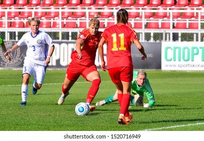 SKOPJE, NORTH MACEDONIA - 10/02/2019: Gentjana Rochi of North Macedonia women's football on the Women's UEFA Euro qualification match against Kazakhstan.