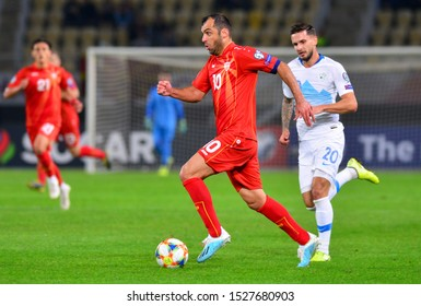 SKOPJE, NORTH MACEDONIA - 10/10/2019: North Macedonia captain Goran Pandev on the UEFA Euro 2020 qualification match against Slovenia in Skopje.