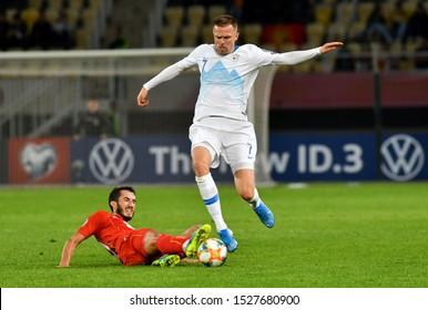 SKOPJE, NORTH MACEDONIA - 10/10/2019: Slovenian Josip Ilicic and Stefan Spirovski from North Macedonia on the UEFA Euro 2020 qualification match in Skopje.