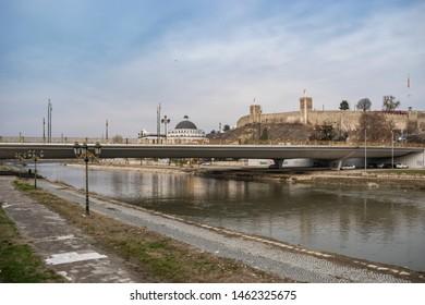 Skopje - North Macedonia - December 2018: View of Vardar river and Skopje Kale Castle.