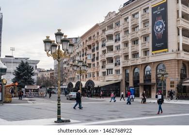 Skopje, North Macedonia - December 2018: Skopje, North Macedonia - December 2018: View of Macedonian Square the Skopje downtown.