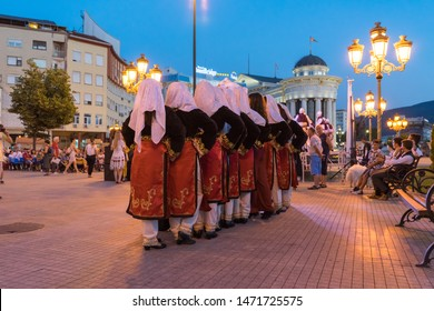 Skopje / North Macedonia - June 07 2019: North Cyprus traditional costume in a festival at Skopje. Folklore Street celebration in balkans countries with folk dress