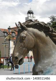 SKOPJE, NORTH MACEDONIA - MAY 06, 2019: Sculptures of horses at Macedonia square, Skopje, North Macedonia, Europe