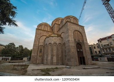 Skopje, Republic of Macedonia - 16 October, 2018: St. Constantine and Elena Church in city of Skopje. Orthodox church under construction. next to the Memorial House of Mother Teresa