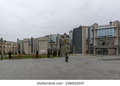 SKOPJE, REPUBLIC OF MACEDONIA - FEBRUARY 24, 2018: Holocaust Museum in city of  Skopje, Republic of Macedonia
