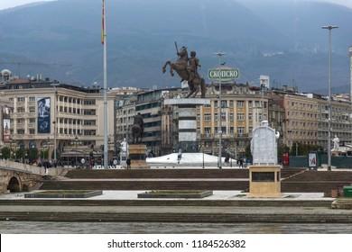 SKOPJE, REPUBLIC OF MACEDONIA - FEBRUARY 24, 2018:  Skopje City Center and Alexander the Great Monument, Macedonia