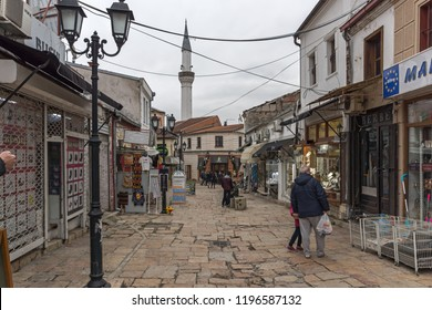 SKOPJE, REPUBLIC OF MACEDONIA - FEBRUARY 24, 2018: Old Bazaar (Old Market) in city of Skopje, Republic of Macedonia