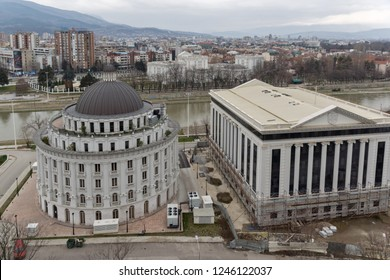SKOPJE, REPUBLIC OF MACEDONIA - FEBRUARY 24, 2018: Panorama to city of Skopje from fortress (Kale fortress) in the Old Town, Republic of Macedonia