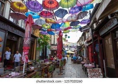Skopje, Republic of Macedonia - September 22, 2018: People are Walking Through Old Bazaar (Stara carsija) in Skopje