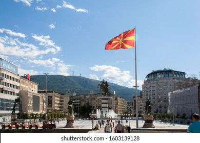 Skopje, Republic of North Macedonia - 2019: streets of the town