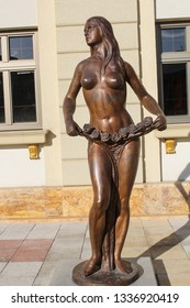 SKOPJE, REPUBLIC OF NORTH MACEDONIA-APR. 12, 2016:   Bronze sculptures abound throughout the city depicting historical and everyday figures and themes.