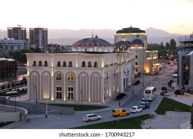 SKOPJE, REPUBLIC OF NORTH MACEDONIA-APR. 12, 2016:  Evening view of the Museum of the Macedonian Struggle for Sovereignty and Independence opened on Sept. 8, 2011.