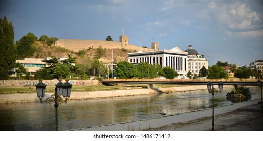 SKOPJE/MACEDONIA - 08.23.2019: Vardar river and the KALE fortress in Skopje, Macedonia