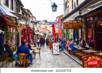 Skopje,Macedonia/ November,2018 . Old Bazaar, in the historical city center of Skopje. One of the oldest and largest marketplaces in the Balkans,