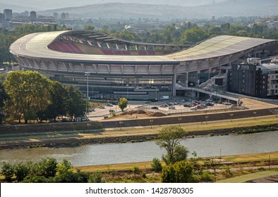SKOPJE,MACEDONIA-AUGUST 28,2018: Toše Proeski Arena,National Arena sports stadium in Skopje, North Macedonia. Viewed from the hill opposite,It is used mostly for football matches.