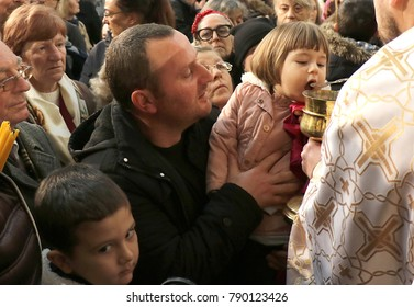 SKOPJE,Macedonia,January 7,2018.In church St.Kliment Ohridski Orthodox christians it was celebrated Christmas with traditional customs