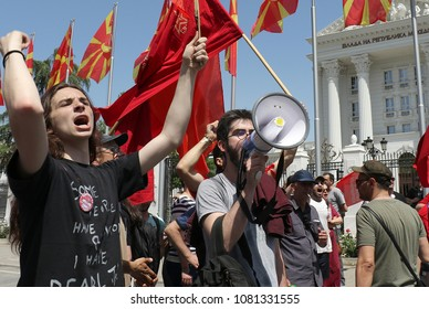 Skopje,Macedonia,May 1,2018.The main trade union organizations in Macedonia, for the Labor Day, organized a protest march in Skopje in front of the Parliament and the Government of Macedonia.