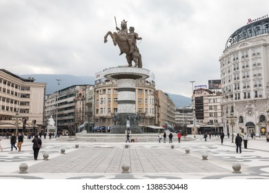 Skopje/North Macedonia - 27March,2018: Macedonia Square and the statue of controversial statue of warrior on a horse>