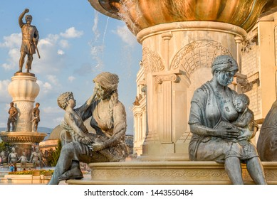 SKOPJE,NORTH MACEDONIA/AUGUST 22 2018: Statues and fountains representing the life of Alexander the great,including his mother and Philip II, his father.Near Old Bazaar,Skopje city center.
