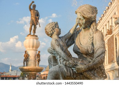 SKOPJE,NORTH MACEDONIA/AUGUST 22 2018: Statues and fountain representing the life of Alexander the great,including his mother and Philip II, his father.Near Old Bazaar and Stone Bridge,Skopje center.