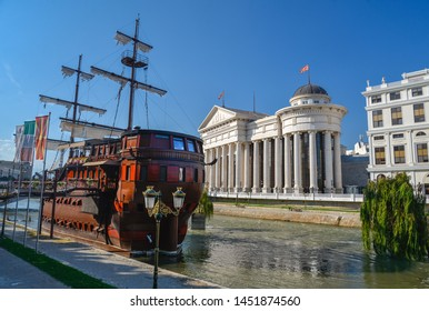 SKOPJE,NORTH MACEDONIA-AUGUST 23 2018: Boatel and Restaurant,Skopje,Macedonia.In central Skopje this mock galleon ship sits atop the Vardar river in front of the new Archaeological Museum of Macedonia