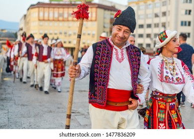 SKOPJE/NORTH MACEDONIA-AUGUST 28 2018: North Cyprus performers,Skopje International festival of music and dance.Multi national participants parade across Stone Bridge towards Macedonia Square.