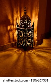 Skoura, Ouarzazate, Morocco - November 14, 2011: Traditional lantern at night inside Kasbah Ait Ben Moro at Skoura Morocco