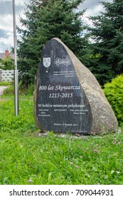 Skowarcz, Poland - August 21, 2017: Monument for 800th anniversary of Skowarcz.