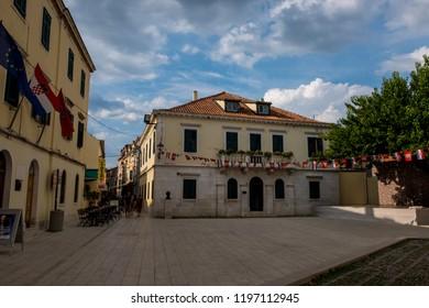 Skradin, Croatia - 16 August 2018 - Small town of Skradin, Croatia on a sunny day.