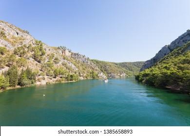 Skradin, Croatia, Europe - Entering the river mouth to Skradin