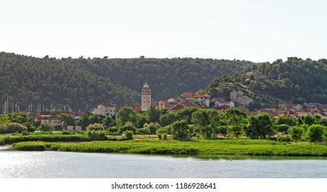 Skradin, Croatia - June 14, 2010: Church Tower and Panorama of Small Town in Skradin, Croatia