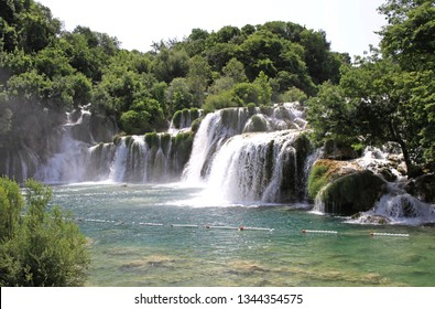 Skradin, Croatia - June 15, 2010: Cascade Waterfalls at Krka River National Park in Skradin, Croatia.