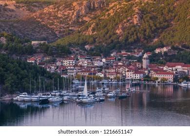 Skradin fisherman village in Croatia at sunset