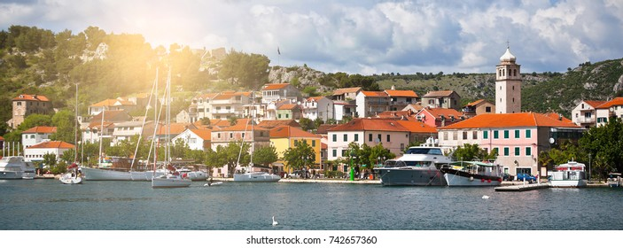 Skradin harbour on the Adriatic coast and Krka river in Croatia. Long wide banner