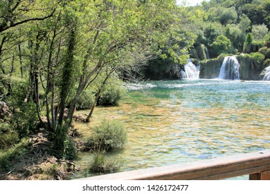 Skradin waterfalls in national pak Krka, croatia